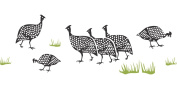 Guinea-Fowl Border Stencil - (size 46cm w x 17cm h) Reusable Wall Stencils for Painting - Best Quality African Wall Art Décor Ideas - Use on Walls, Floors, Fabrics, Glass, Wood, Terracotta, and More...