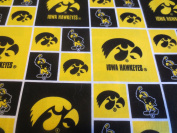 University Of Iowa Yellow And Block Cotton Fabric