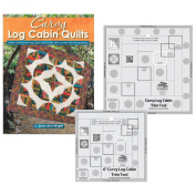 Bundles of Creative Grids Non-Slip Curvy Log Cabin Trim Tools for 20cm Finished Blocks and 15cm Finished Blocks; and Book Curvy Log Cabin Quilts by Jean Ann Wright