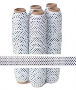 5 Yards of 1.6cm White with Small Black Polka Dots - Fold Over Elastic - ElasticByTheYardTM