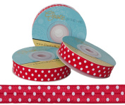 5 Yards of 1.6cm Red with White Polka Dots Fold Over Elastic - ElasticByTheYardTM