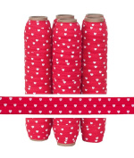 5 Yards of 1.6cm Red with White Hearts Fold Over Elastic - ElasticByTheYardTM