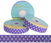 5 Yards of 1.6cm Purple with White Polka Dots Fold Over Elastic - ElasticByTheYardTM