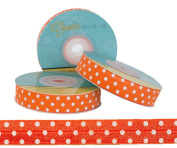 5 Yards of 1.6cm Orange with White Polka Dots Fold Over Elastic - ElasticByTheYardTM