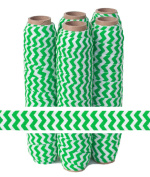 5 Yards of 1.6cm Green on White Chevron Fold Over Elastic - ElasticByTheYardTM