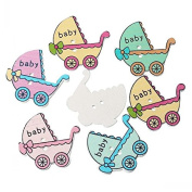 10, 3.2cm Assorted Painted Baby Carriage Wood Buttons for Sweaters, Knitting, Sewing, Button Crafts, Scrapbooking B21116