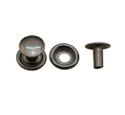 Amanaote 10mm Dia Head 8mm Pole Eyelet Half Hollow Rivets Silvery Eyelets with Washer Pack of 20