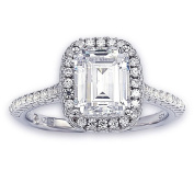 Suzy Levian Bridal Sterling Silver Asscher-cut White Cubic Zirconia Halo Engagement Ring