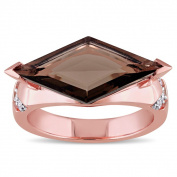 Versace 19.69 Abbigliamento Sportivo SRL 18k Rose Gold Plated Sterling Silver Smokey Quartz and White Sapphire Cocktail Ring