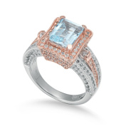 Suzy Levian Sterling Silver Blue Topaz 6.15 TCW Ring