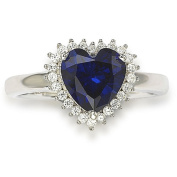 Suzy Levian Sterling Silver Blue Heart Cubic Zirconia Ring