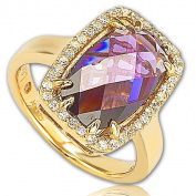 Suzy Levian Goldplated Sterling Silver Purple Cubic Zirconia Ring