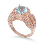 Suzy Levian Sterling Silver 5.23 TCW Blue Topaz Ring