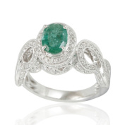 Suzy Levian 14K White Colombian Emerald .84ct TDW Diamond Ring