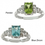 M.V. Jewels 14k White Gold Peridot or Blue Zircon and Diamond Ring