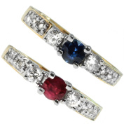 M.V. Jewels 14k Yellow Gold Ruby or Blue Sapphire and Diamond Ring