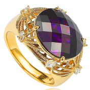Suzy Levian Goldplated Sterling Silver Simulated Amethyst Ring