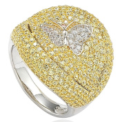 Suzy Levian Sterling Silver Pave Cubic Zirconia Butterfly Accent Ring