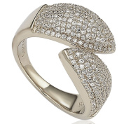 Suzy Levian Pave Cubic Zirconia Sterling Silver Bypass Ring