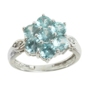 M.V. Jewels 14K White Gold Blue Zircon and Diamond Floral Ring