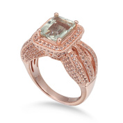 Suzy Levian Sterling Silver 4.6 cttw Green Amethyst Ring