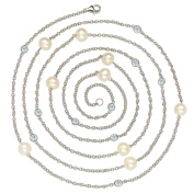 Suzy Levian Sterling Silver Bezel Sapphire and Pearl By-the-Yard 120cm Station Necklace