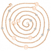 Suzy Levian Rosed Sterling Silver Pink Freshwater Pearl Station Necklace