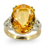Kabella Luxe 18k Yellow Gold Oval Imperial Topaz 1/2ct TDW Diamond Cocktail Ring