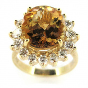 Kabella Luxe 14k Yellow Gold Imperial Topaz 1ct TDW Diamond Cocktail Ring