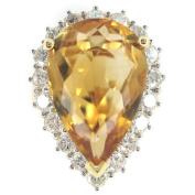Kabella Luxe 18k Yellow Gold Pear Imperial Topaz 1 1/2ct TDW Diamond Cocktail Ring
