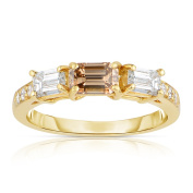 Eloquence 18k Yellow Gold 1 1/3ct TDW Cognac and White 3-stone Diamond Ring