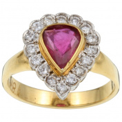 Pre-owned 18k Gold Ruby and 1/2ct TDW Diamond Estate Ring (H, VS2)