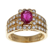 Pre-owned 18k Gold 1/2ct TDW Diamond and Ruby Estate Ring