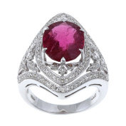 Pre-owned 18k White Gold Rubalite and 1 3/4ct TDW Diamond Estate Ring