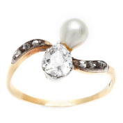 Pre-owned 15k Yellow Gold 3/4ct TDW Diamond and Natural Pearl Victorian Estate Ring