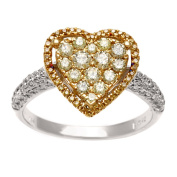 Kabella Luxe 18k Gold 7/8ct TDW Yellow and White Diamond Heart Ring
