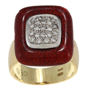 Pre-owned 18k Yellow Gold 1/2ct TDW Diamond and Red Enamel Estate Ring