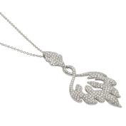 Kabella Luxe 18k White Gold 2 1/8ct TDW Diamonds Swirling Flame Necklace