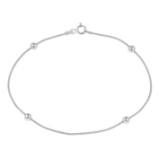 Mondevio Sterling Silver Bead Anklet