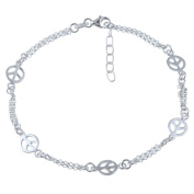 Sterling Essentials Sterling Silver 25cm Peace Anklet