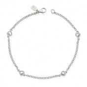 Sterling Silver 23cm Polished Heart Charm Station Rolo Anklet