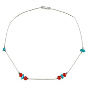 Southwest Moon Liquid Metal Carnelian and Turquoise Chip 25cm Anklet