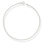 Sterling Silver Italian 10-inch Sparking 2mm Margherita Chain Anklet