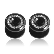 Supreme Jewellery Black Stainless-Steel Cubic Zirconia Tapers