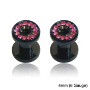 Supreme Jewellery Black Pink Crystal-accent Tapers