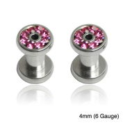 Supreme Jewellery Stainless Steel Pink Cubic Zirconia Tapers