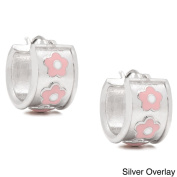 Molly and Emma 14k Gold Overlay or Silverplated Pink Flower Hoop Earrings