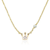 Molly Glitz Pretty Princess 14k Goldplated Crystal Crown Fresh Water Pearl Chain Necklace