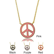 Molly and Emma 18k Gold Overlay Children's Enamel Peace Symbol Necklace