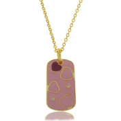 Molly and Emma 18k Gold Overlay Children's CZ and Pink Enamel Necklace